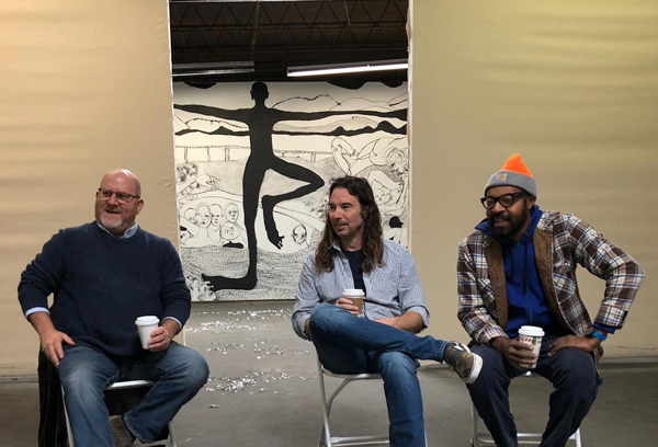 Stuart Horodner, artists Scott Ingram and William Downs at a curator discussion in Atlanta at The Temporary Art Center